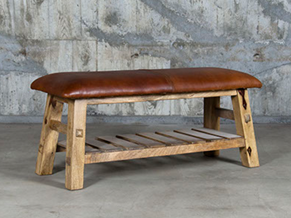 Wooden bench w/lather top