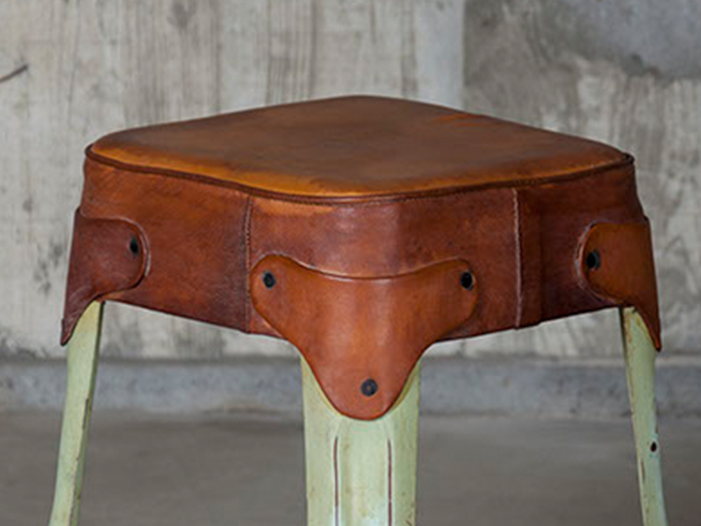Iron stool w/ lather top