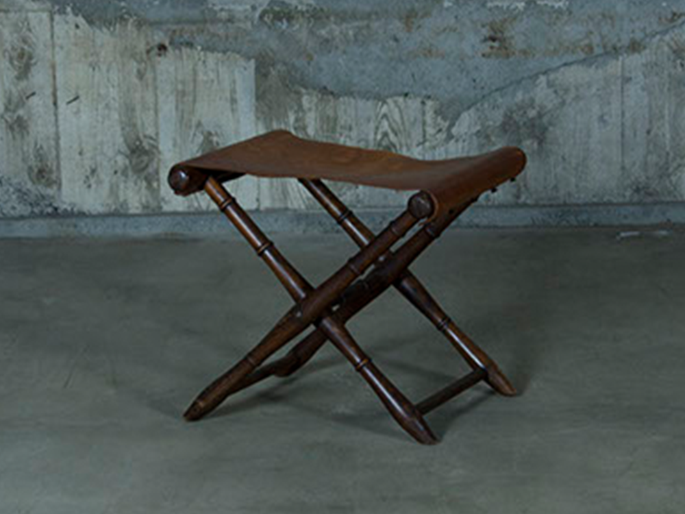 Folding stool w/ leather seat