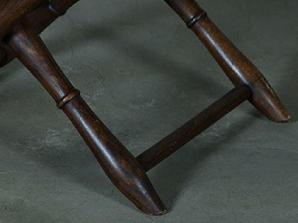Folding stool w/ leather seat