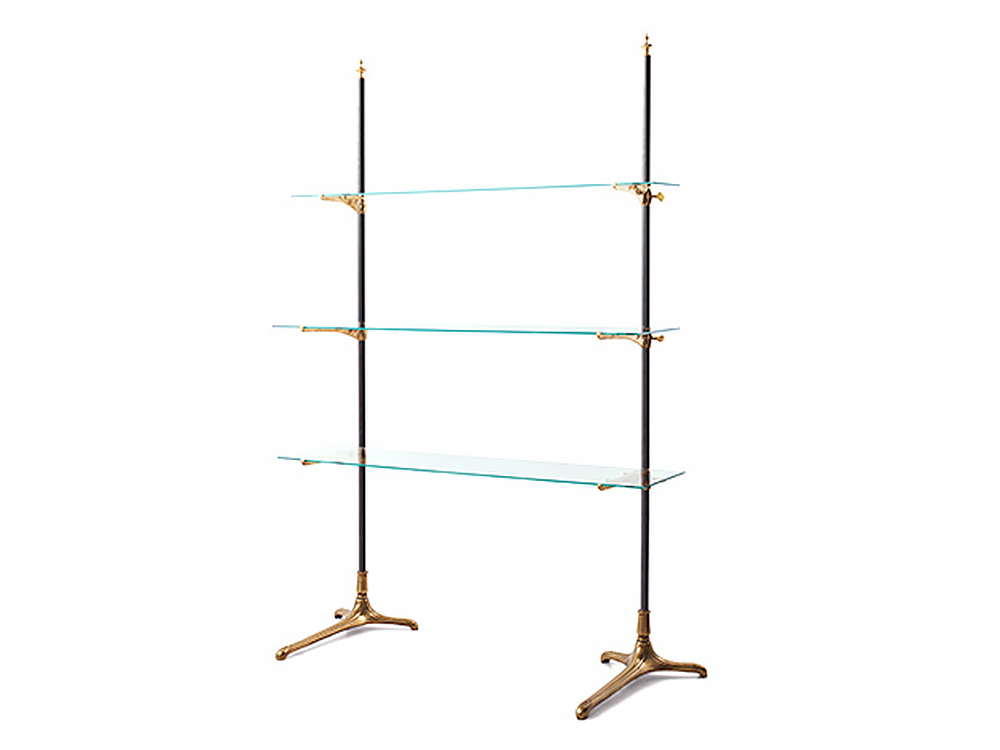 Brass shelves display rack