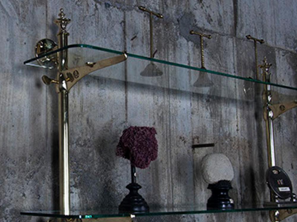 Brass wall bracket shelf