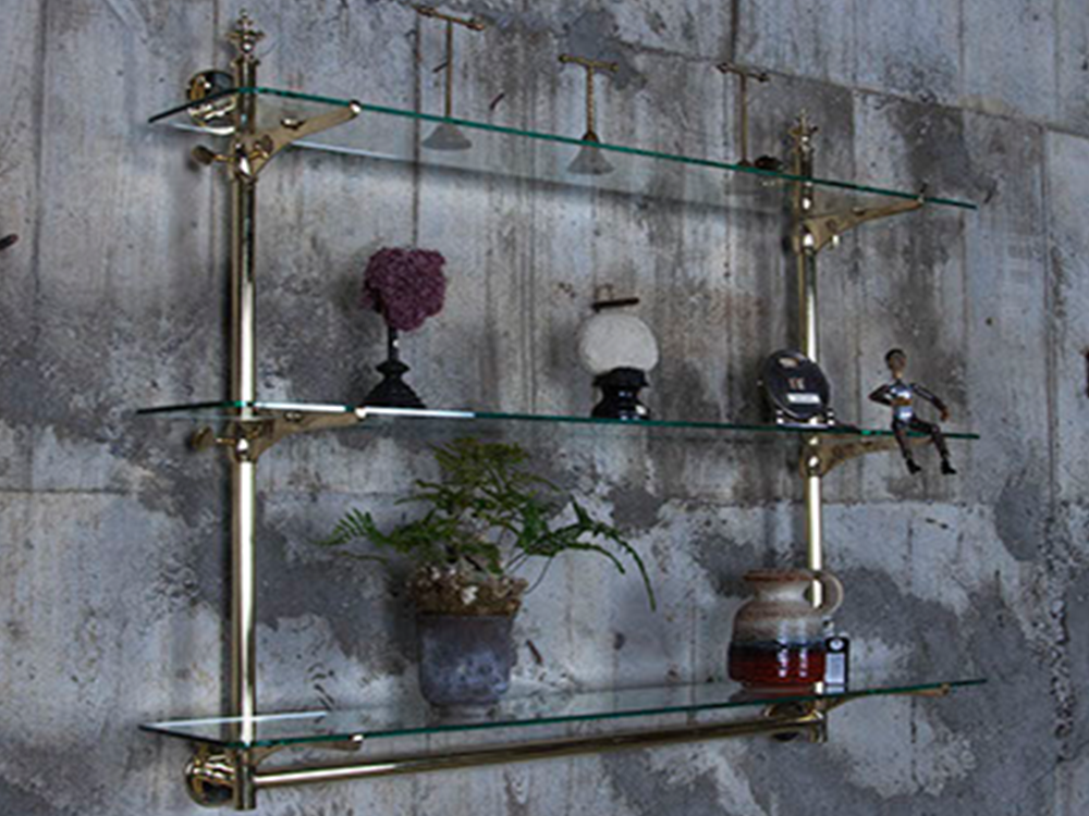 Brass wall bracket shelf