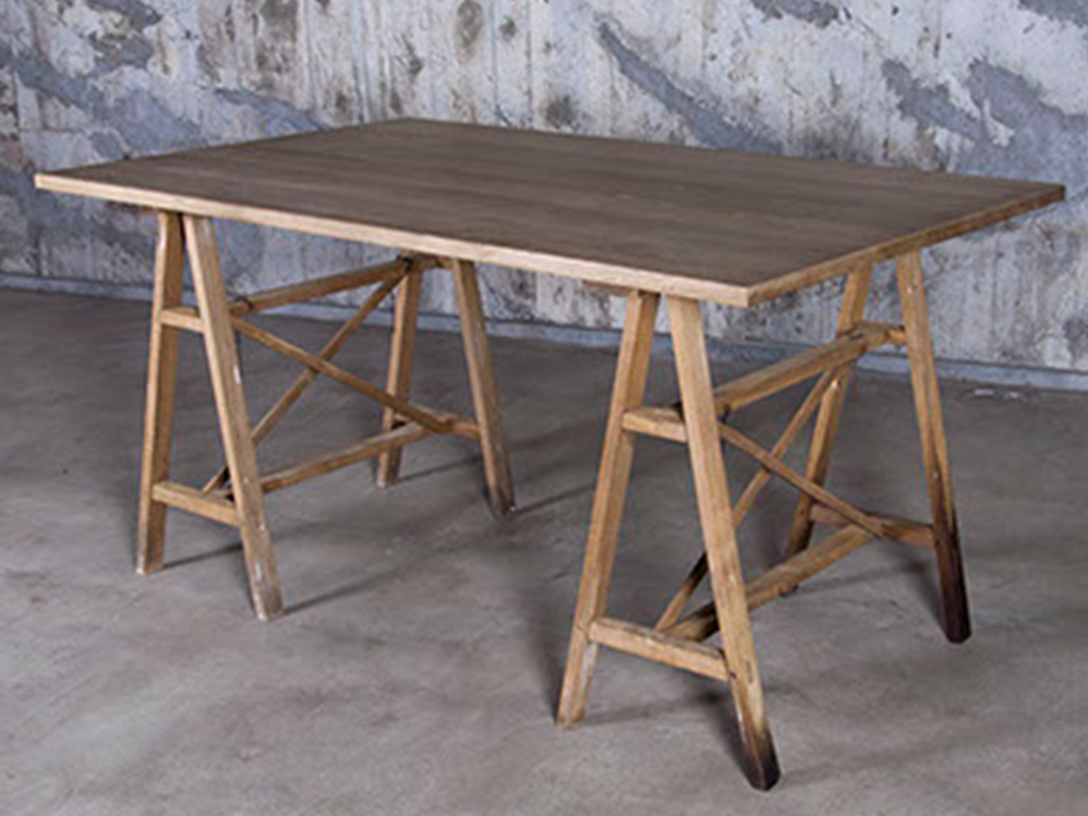 Trestle table w/oak top