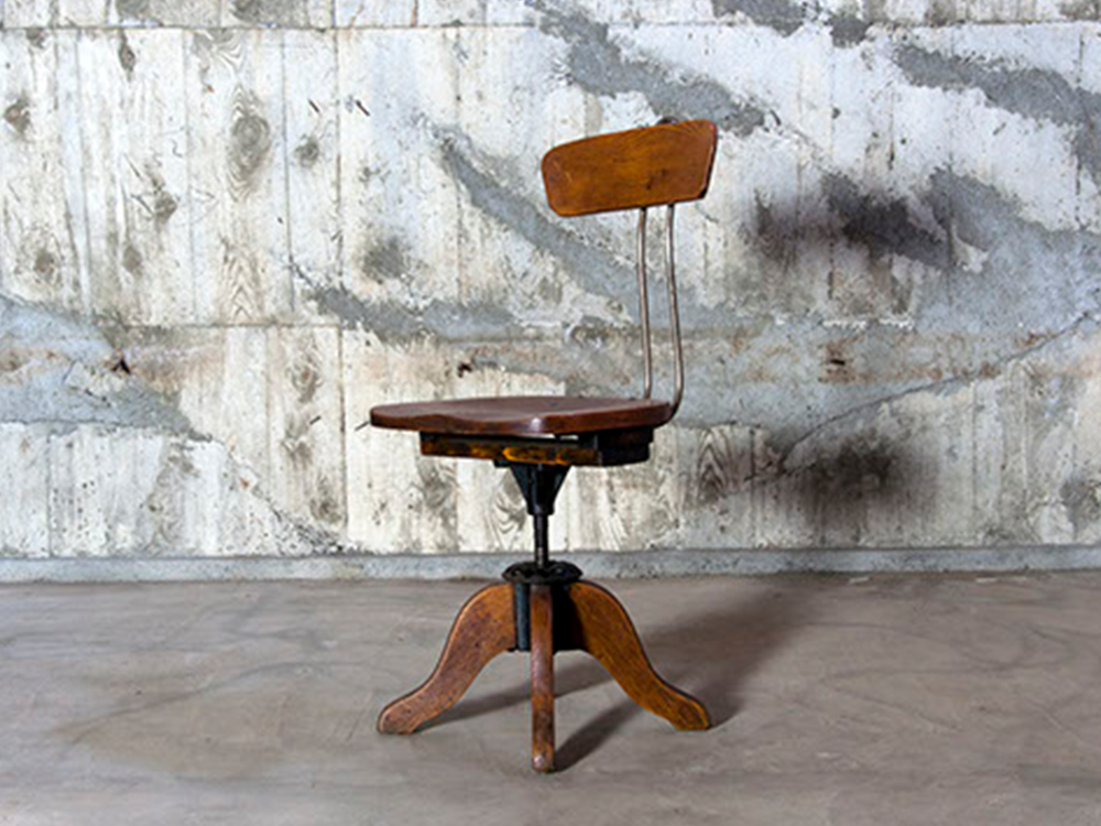 Industrial wood chair